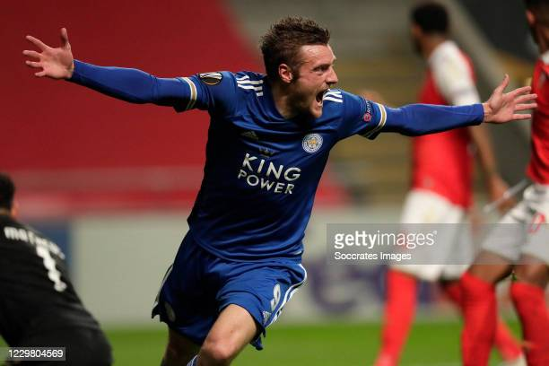 Jamie Vardy of Leicester City celebrates 3-3 during the UEFA Europa League match between Sporting Braga v Leicester City at the Estádio Municipal de...