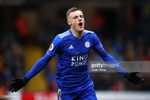 Jamie Vardy of Leicester City celebrates after he scores his sides first goal during the Premier League match between Watford FC and Leicester City...