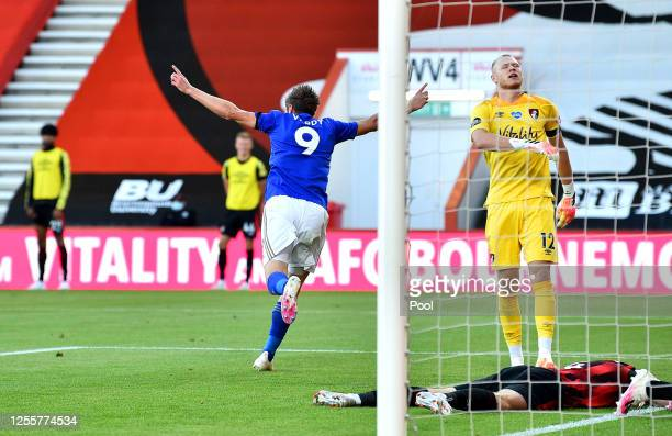 Jamie Vardy of Leicester City celebrates after he scores his team's first goal during the Premier League match between AFC Bournemouth and Leicester...