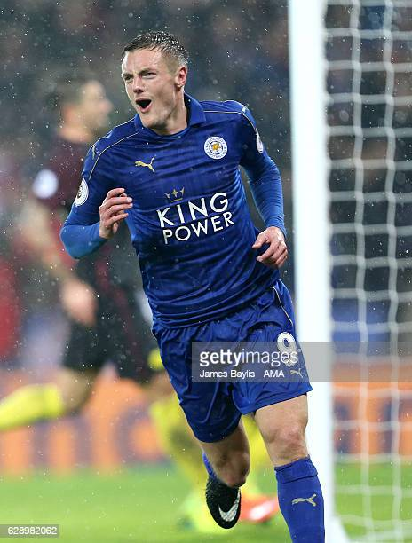 Jamie Vardy of Leicester City celebrates after scoring a goal to make it 10 during the Premier League match between Leicester City and Manchester...
