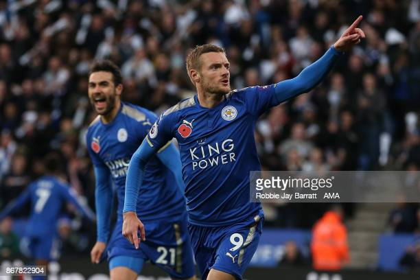 Jamie Vardy of Leicester City celebrates after scoring a goal to make it 10 during the Premier League match between Leicester City and Everton at The...