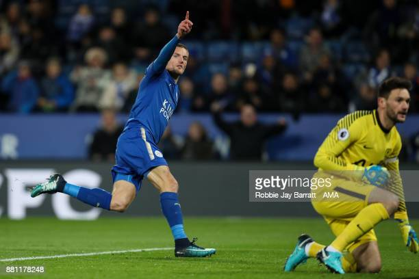 Jamie Vardy of Leicester City celebrates after scoring a goal to make it 10 during the Premier League match between Leicester City and Tottenham...