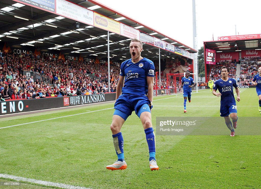 Jamie Vardy of Leicester City celebrates after scoring from the penaly spot to make it 1-1 during the Premier League match between Bournemouth and Leicester City at the Vitality Stadium on August 29, 2015 in Bournemouth, United Kingdom.