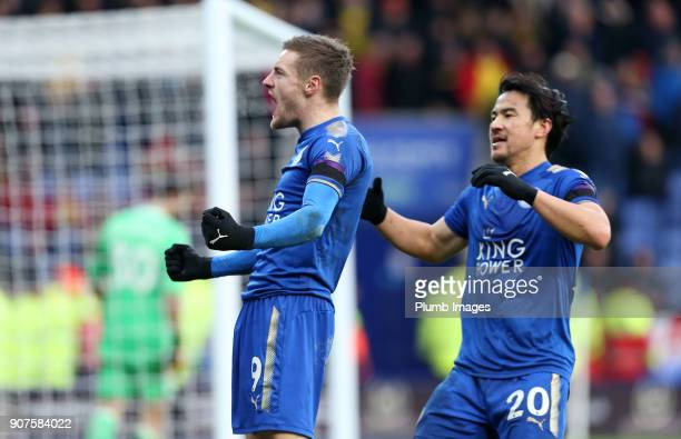 Jamie Vardy of Leicester City celebrates after scoring from the penalty spot to make it 10 during the Premier League match between Leicester City and...