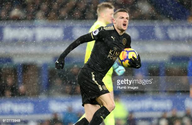 Jamie Vardy of Leicester City celebrates after scoring from the penalty spot to make it 2-1 during the Premier League match between Everton and...