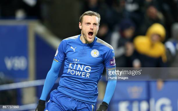 Jamie Vardy of Leicester City celebrates after scoring his 50th Premier League goal to make it 10 during the Premier League match between Leicester...