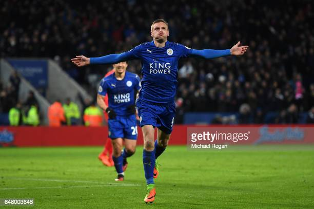 Jamie Vardy of Leicester City celebrates after scoring his second and his sides third goal during the Premier League match between Leicester City and...