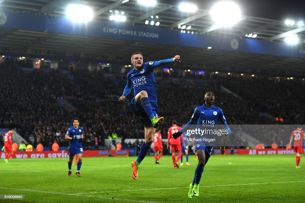 Jamie Vardy of Leicester City celebrates after scoring his second and his sides third goal during the Premier League match between Leicester City and Liverpool at The King Power Stadium on February 27, 2017 in Leicester, England.