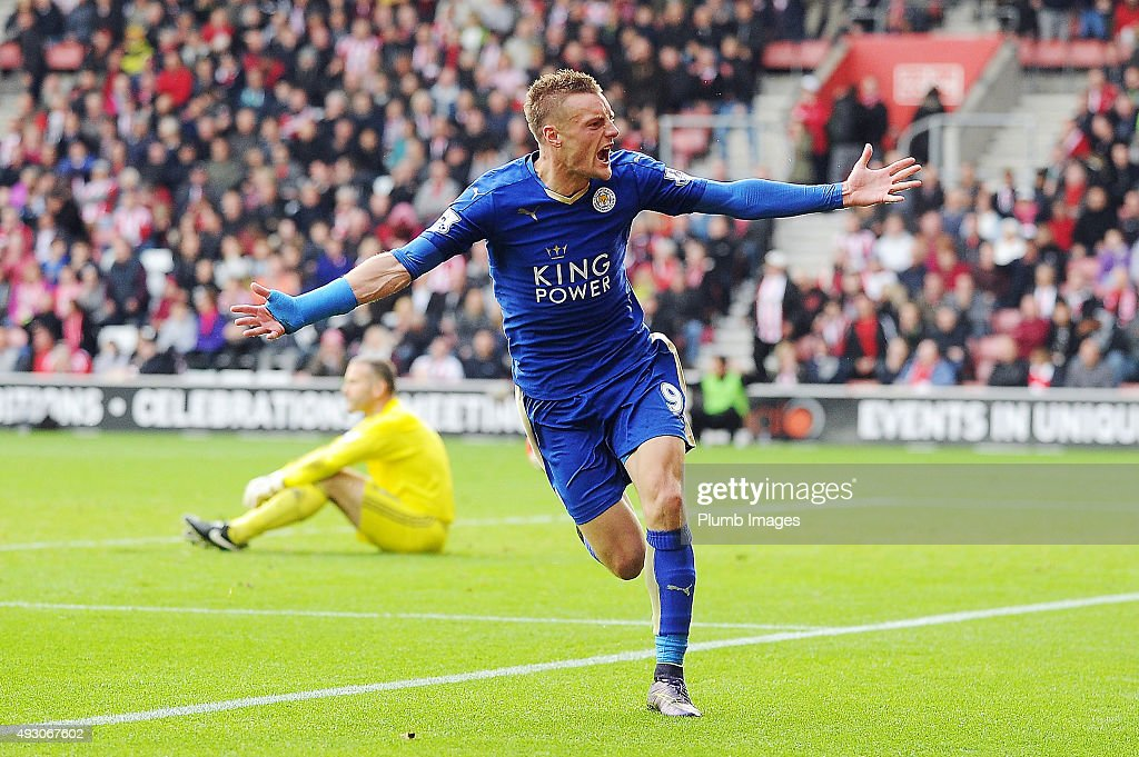 Jamie Vardy of Leicester City celebrates after scoring his second goal to make it 2-2 during the Premier League match between Southampton and Leicester City at St. Mary's on October 17, 2015 in Southampton , United Kingdom.