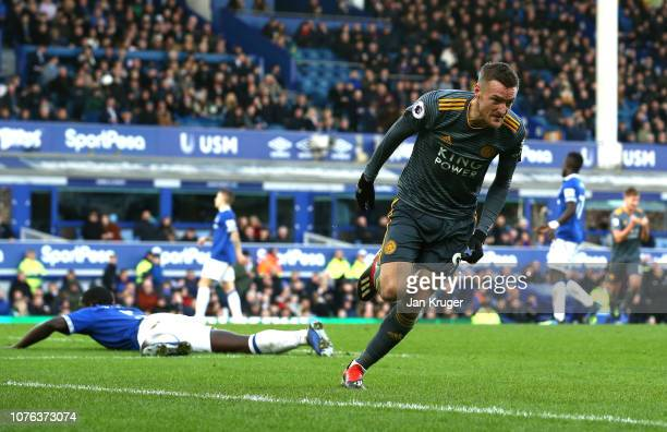 Jamie Vardy of Leicester City celebrates after scoring his sides first goal during the Premier League match between Everton FC and Leicester City at...