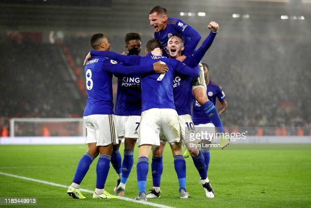Jamie Vardy of Leicester City celebrates after scoring his sides ninth goal with James Maddison, Youri Tielemans, Demarai Gray and Marc Albrighton...
