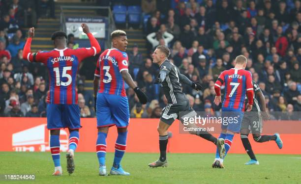 Jamie Vardy of Leicester City celebrates after scoring his sides second goal during the Premier League match between Crystal Palace and Leicester...