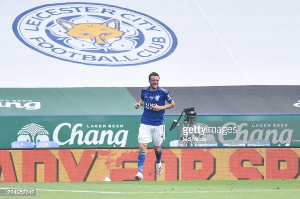 Jamie Vardy of Leicester City celebrates after scoring his sides second goal and his sides third during the Premier League match between Leicester...