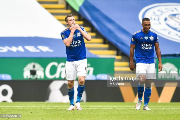 Jamie Vardy of Leicester City celebrates after scoring his sides first goal and his sides second as Youri Tielemans of Leicester City looks on during...