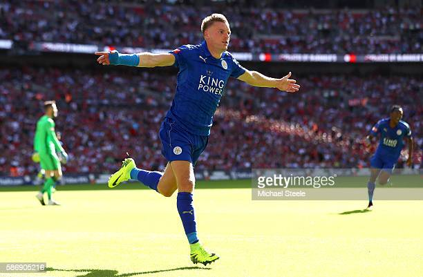 Jamie Vardy of Leicester City celebrates after scoring his sides first goal during The FA Community Shield match between Leicester City and...