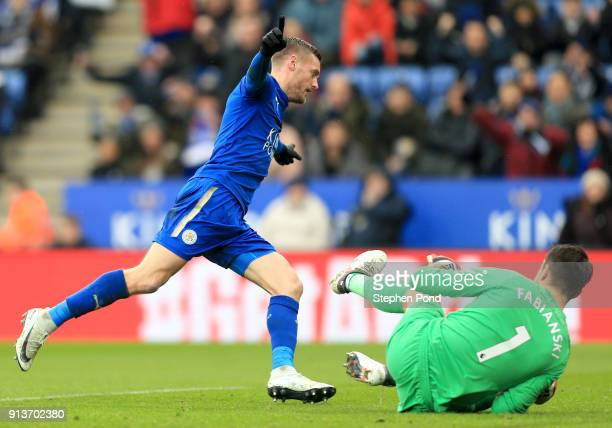 Jamie Vardy of Leicester City celebrates after scoring his sides first goal during the Premier League match between Leicester City and Swansea City...