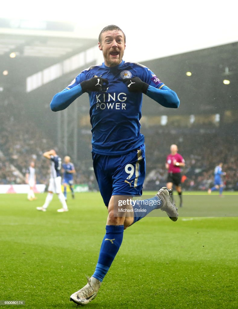 Jamie Vardy of Leicester City celebrates after scoring his sides first goal during the Premier League match between West Bromwich Albion and Leicester City at The Hawthorns on March 10, 2018 in West Bromwich, England.