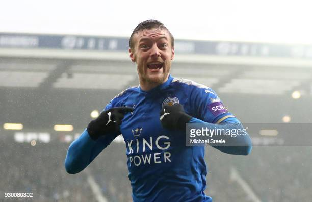 Jamie Vardy of Leicester City celebrates after scoring his sides first goal during the Premier League match between West Bromwich Albion and...