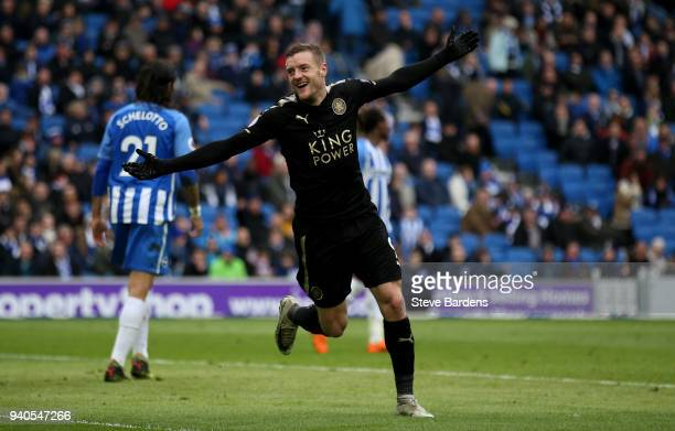 Jamie Vardy of Leicester City celebrates after scoring his sides second goal during the Premier League match between Brighton and Hove Albion and...