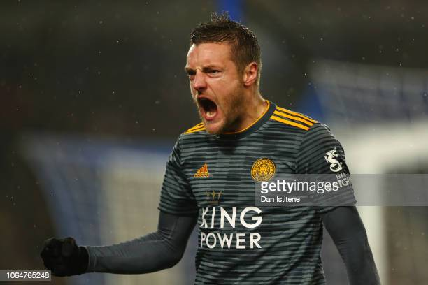 Jamie Vardy of Leicester City celebrates after scoring his team's first goal during the Premier League match between Brighton Hove Albion and...