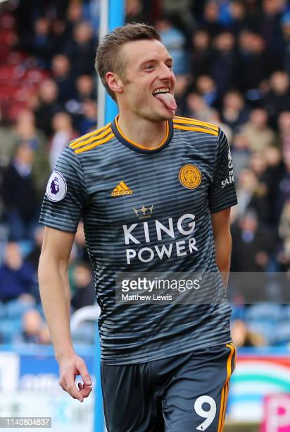 Jamie Vardy of Leicester City celebrates after scoring his team's second goal from the penalty spot during the Premier League match between...