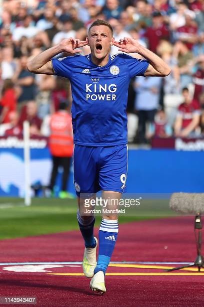 Jamie Vardy of Leicester City celebrates after scoring his team's first goal during the Premier League match between West Ham United and Leicester...
