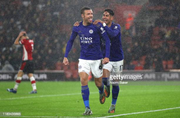 Jamie Vardy of Leicester City celebrates after scoring his team's fifth goal with Ayoze Perez of Leicester City as Maya Yoshida of Southampton reacts...