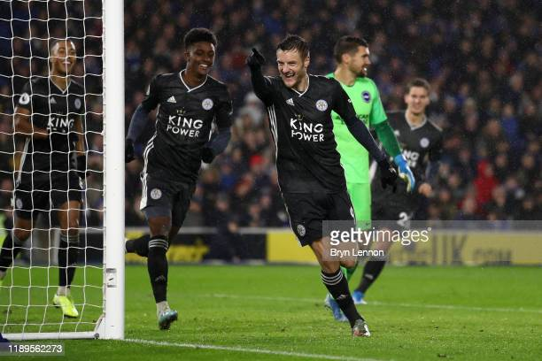 Jamie Vardy of Leicester City celebrates after scoring his team's second goal during the Premier League match between Brighton & Hove Albion and...