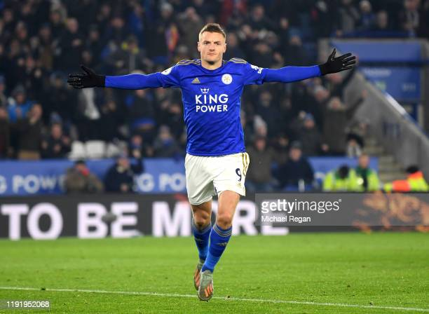 Jamie Vardy of Leicester City celebrates after scoring his team's first goal during the Premier League match between Leicester City and Watford FC at...