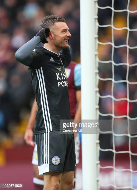 Jamie Vardy of Leicester City celebrates after scoring his team's first goal during the Premier League match between Aston Villa and Leicester City...
