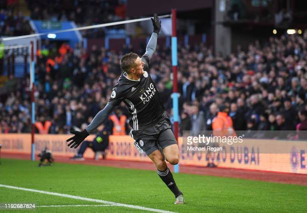 Jamie Vardy of Leicester City celebrates after scoring his team's fourth goal during the Premier League match between Aston Villa and Leicester City...