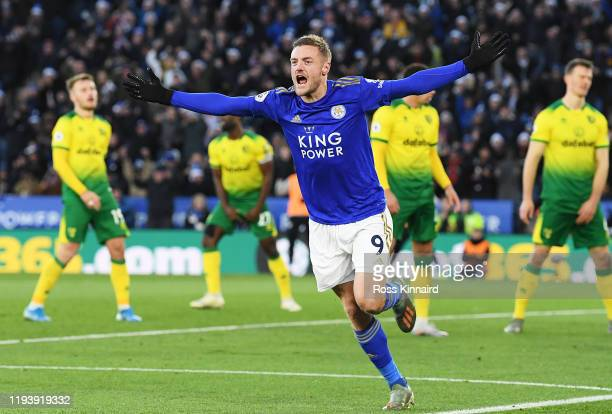 Jamie Vardy of Leicester City celebrates after scoring his team's first goal during the Premier League match between Leicester City and Norwich City...
