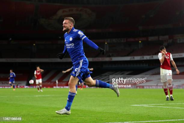 Jamie Vardy of Leicester City celebrates after scoring his team's first goal during the Premier League match between Arsenal and Leicester City at...