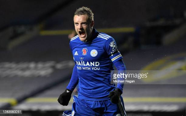 Jamie Vardy of Leicester City celebrates after scoring his team's third goal during the Premier League match between Leeds United and Leicester City...