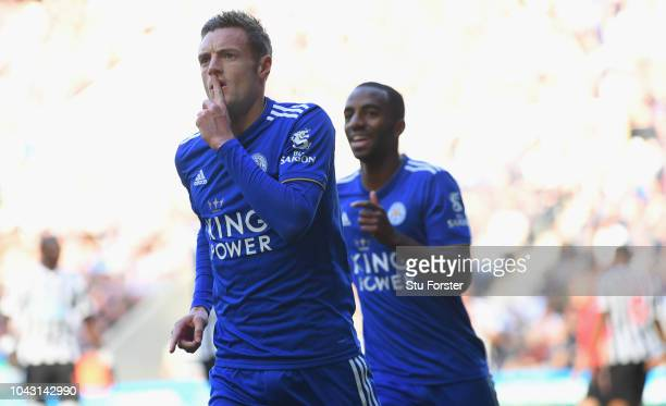 Jamie Vardy of Leicester City celebrates after scoring the first goal during the Premier League match between Newcastle United and Leicester City at...