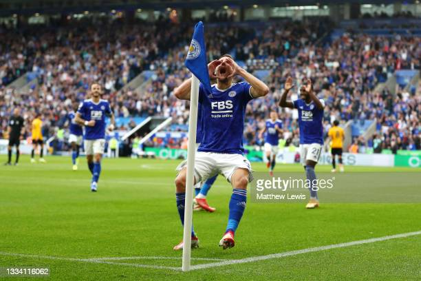 Jamie Vardy of Leicester City celebrates after scoring their side's first goal during the Premier League match between Leicester City and...