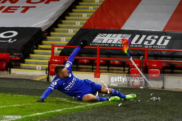Jamie Vardy of Leicester City celebrates after scoring their team's second goal during the Premier League match between Sheffield United and...
