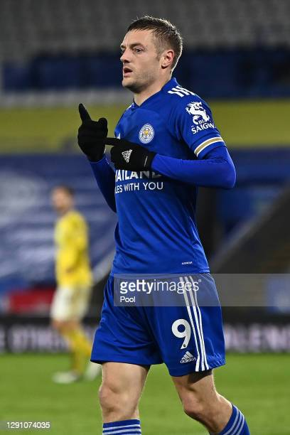 Jamie Vardy of Leicester City celebrates after scoring their team's second goal during the Premier League match between Leicester City and Brighton &...