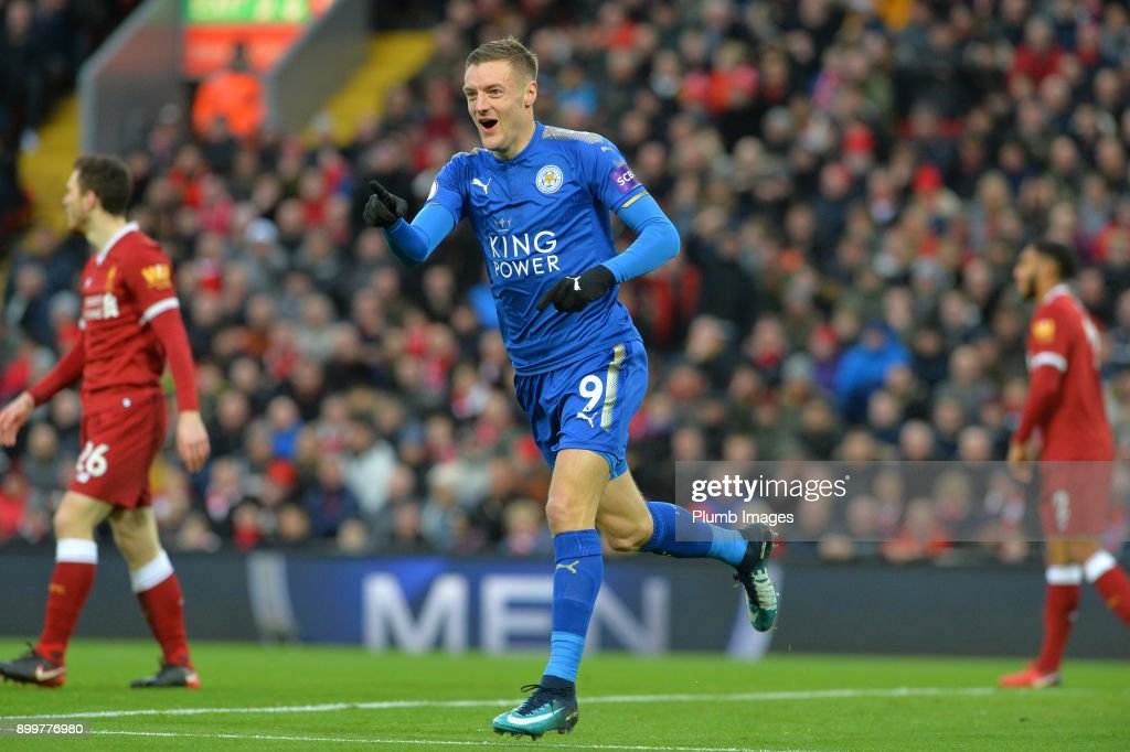 Jamie Vardy of Leicester City celebrates after scoring to make it 0-1 during the Premier League match between Liverpool and Leicester City at Anfield, on December 30, 2017 in Liverpool, United Kingdom