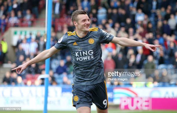 Jamie Vardy of Leicester City celebrates after scoring to make it 0-2 during the Premier League match between Huddersfield Town and Leicester City at...