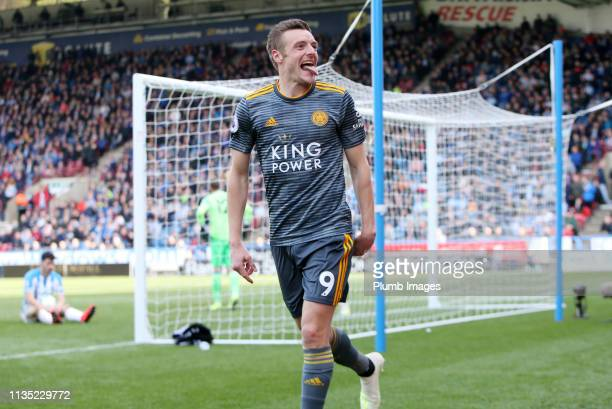 Jamie Vardy of Leicester City celebrates after scoring to make it 02 during the Premier League match between Huddersfield Town and Leicester City at...