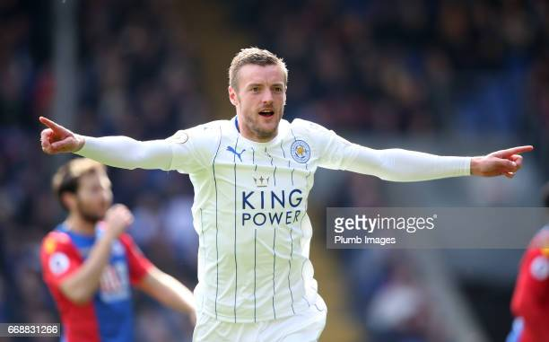 Jamie Vardy of Leicester City celebrates after scoring to make it 02 during the Premier League match between Crystal Palace and Leicester City on...
