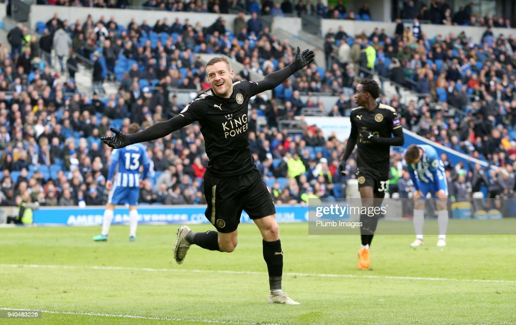 Jamie Vardy of Leicester City celebrates after scoring to make it 0-2 during the Premier League match between Brighton and Hove Albion and Leicester City at Amex Stadium, on March 31st, 2018 in Brighton, United Kingdom