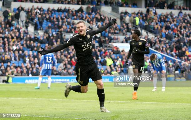 Jamie Vardy of Leicester City celebrates after scoring to make it 02 during the Premier League match between Brighton and Hove Albion and Leicester...