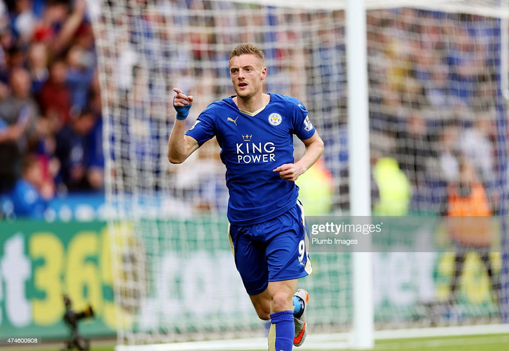 Jamie Vardy of Leicester City celebrates after scoring to make it 1-0 during the Barclays Premier League match between Leicester City and Queens Park Rangers at The King Power Stadium on May 24, 2015 in Leicester, England.