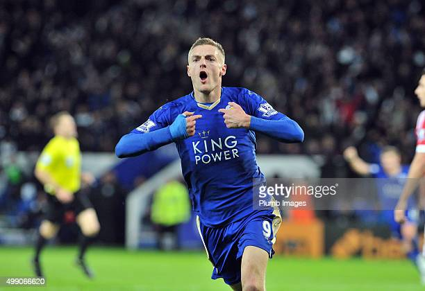 Jamie Vardy of Leicester City celebrates after scoring to make it 1-0 and beat Ruud Van Nistelrooy's record during the Barclays Premier League match...