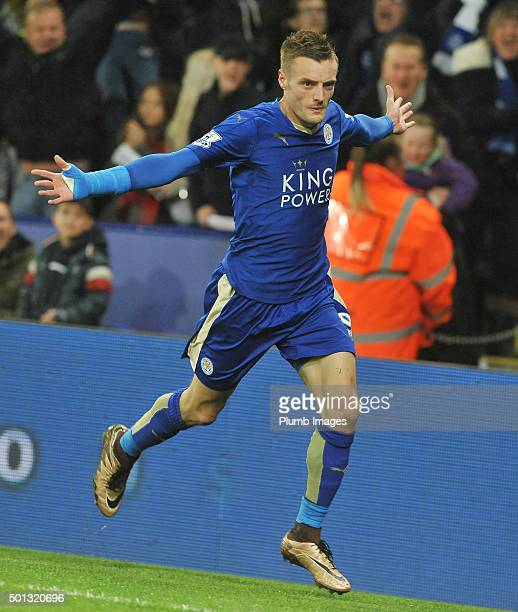 Jamie Vardy of Leicester City celebrates after scoring to make it 10 during the Barclays Premier League match between Leicester City and Chelsea at...
