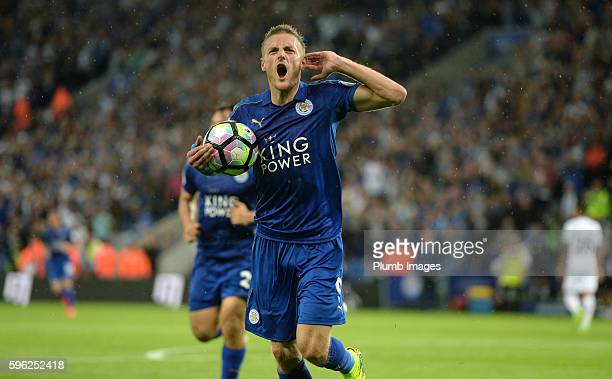 Jamie Vardy of Leicester City celebrates after scoring to make it 10 during the Premier League match between Leicester City and Swansea City at the...