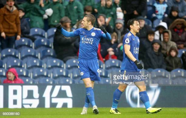 Jamie Vardy of Leicester City celebrates after scoring to make it 11 during the Premier League match between West Bromwich Albion and Leicester City...