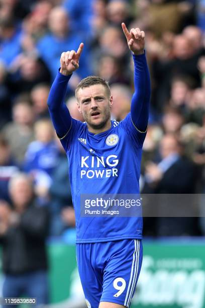 Jamie Vardy of Leicester City celebrates after scoring to make it 20 during the Premier League match between Leicester City and Arsenal at The King...